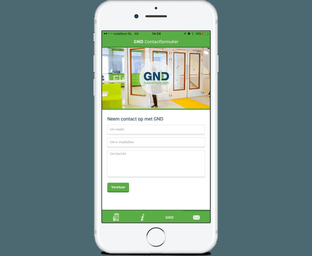 App GND Contactformulier