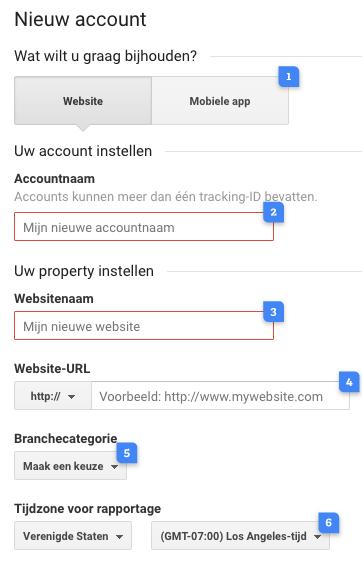 Google Analtytics nieuw account